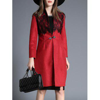 Lace Insert Slit Faux Suede Coat