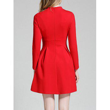 Long Sleeve Mini Qipao Skater Dress - RED L