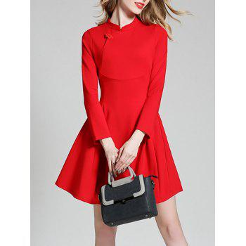 Long Sleeve Mini Qipao Skater Dress - RED RED