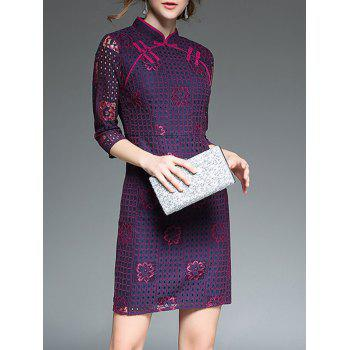 Chinese Style Sheath Qipao Dress - PURPLISH RED PURPLISH RED