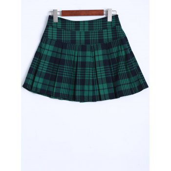 Scottish Plaid Pattern Mini Pleated Skirt