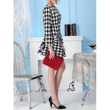 Houndstooth Woolen Top with Skater Skirt - S S