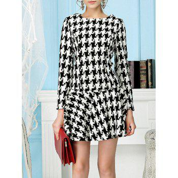 Houndstooth Woolen Top with Skater Skirt - BLACK S