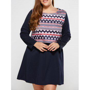 Plus Size Tribal Print Popover Dress