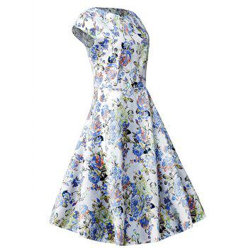 Vintage Blossom Print Swing Dress - FLORAL L