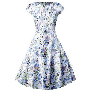 Vintage Blossom Print Swing Dress