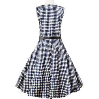 Sleeveless Plaid Swing Dress - BLUE PLAID BLUE PLAID