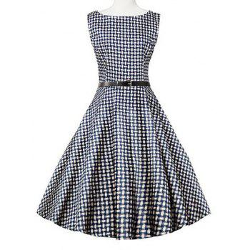 Sleeveless Plaid Swing Dress