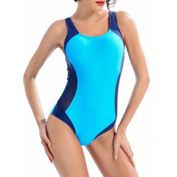 Color Block Hollow Out One-Piece Swimwear