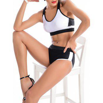 Buy Color Block Criss-Cross Sporty Bikini Set WHITE/BLACK