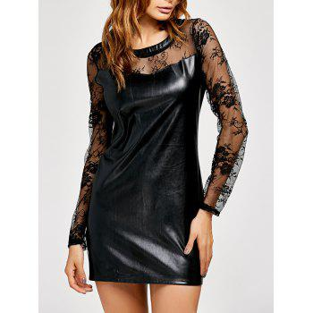 See Through PU Leather Lace Insert Mini Dress