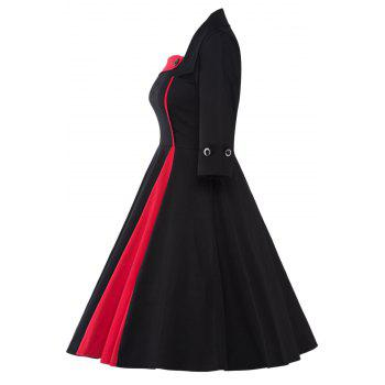 Color Block Vintage Swing Dress - BLACK/RED BLACK/RED