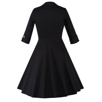 Color Block Vintage Swing Dress - BLACK/RED XL
