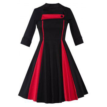 Color Block Vintage Swing Dress - BLACK AND RED BLACK/RED