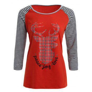 Raglan Sleeves Elk Print Striped T Shirt
