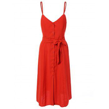 Single-Breasted Belted Slip Dress