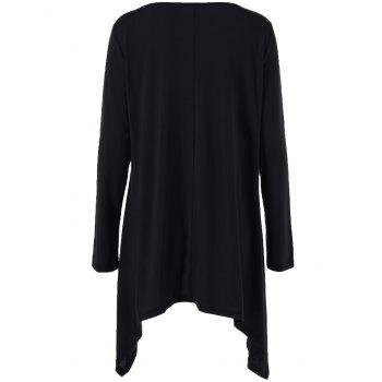 Long Sleeve Plus Size Double-Breasted Asymmetrical T-Shirt - BLACK XL