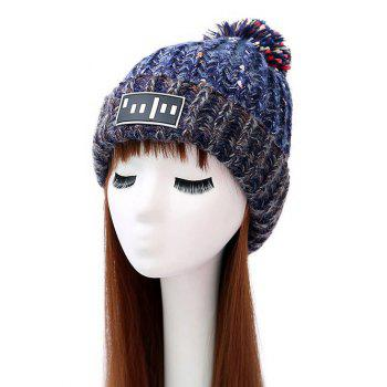 Pom Ball Stripy Flanging Knitted Beanie
