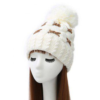 Criss Cross Flanging Pom Ball Knitted Beanie