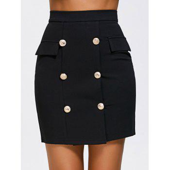 High Waist Double Breasted Zip Skirt
