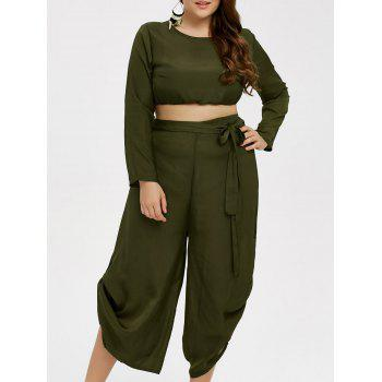 Plus Size Cropped Top and Chiffon Palazzo Pants