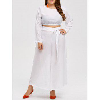Plus Size Cropped Top and Wide Leg Pants