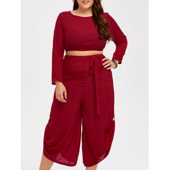Buy Plus Size Cropped Top Wide Leg Pants RED