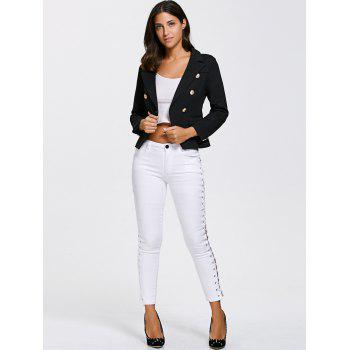 Double Breasted Slimming Short Blazer - BLACK BLACK