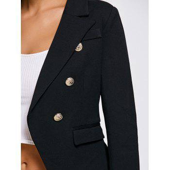 Double Breasted Slimming Short Blazer - BLACK S