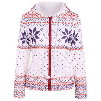 Zipper Snowflake Patterned Christmas Hoodie