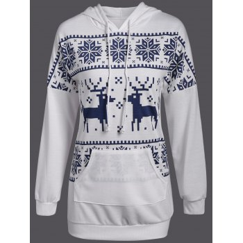 Snowflake Fawn Patterned Christmas Hoodie