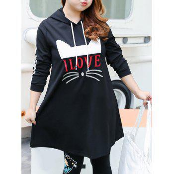 Plus Size Love Cat Pattern Fleece Hooded Dress