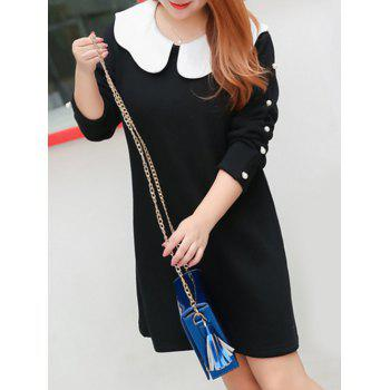Plus Size Beaded Insert Peter Pan Collar Dress