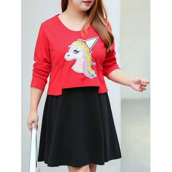 Plus Size A Line Dress and Horse Pattern Crop Top