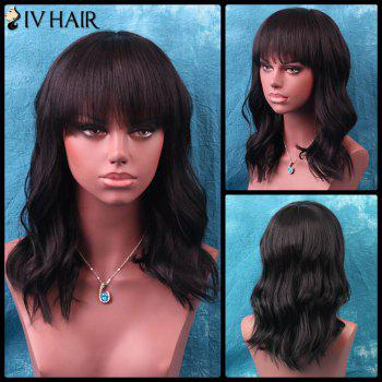 Siv Medium Shaggy Neat Bang Wavy Human Hair Wig