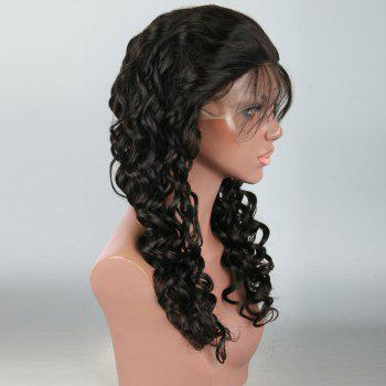 Shaggy Long Loose Wave Lace Front Human Hair Wig -  BLACK