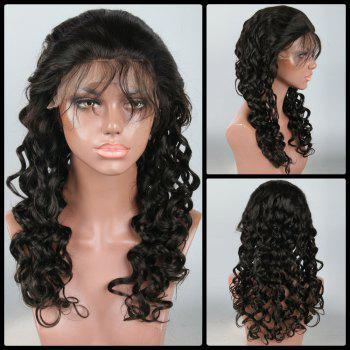 Shaggy Long Loose Wave Lace Front Human Hair Wig - BLACK BLACK