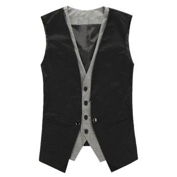 V Neck Single Breasted Faux Twinset Waistcoat