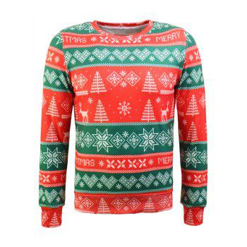 Christmas Tree and Snowflake Print Long Sleeve Flocking Sweatshirt