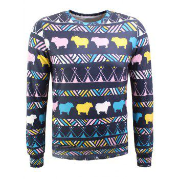 Colorful Animal and Geometric Print Long Sleeve Flocking Sweatshirt