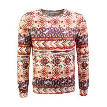 Bohemian Geometric Print Long Sleeve Flocking Sweatshirt