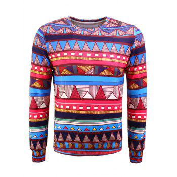 Colorful Geometric Pattern Long Sleeve Flocking Sweatshirt