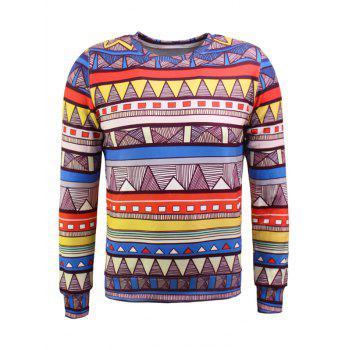 Geometric Pattern Long Sleeve Flocking Sweatshirt