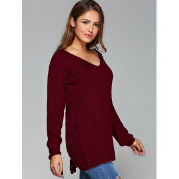 Lace-Up Back Knitted Sweater - WINE RED XL