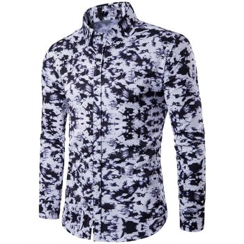Buy Turndown Collar Camouflage Pattern Long Sleeve Shirt BLACK
