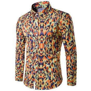 Turndown Collar Camouflage Pattern Long Sleeve Shirt