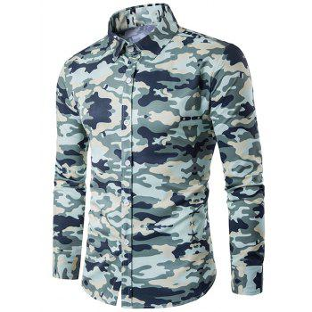 Turndown Collar Camouflage Print Long Sleeve Shirt