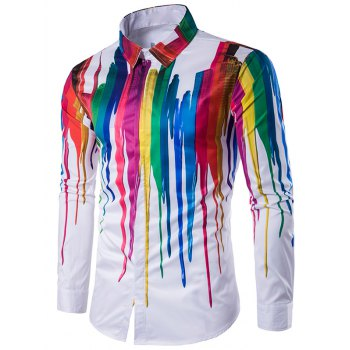 Buy Turndown Collar Colorful Splatter Paint Long Sleeve Shirt WHITE