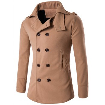 Double Breasted Stand Collar Epaulet Wool Coat