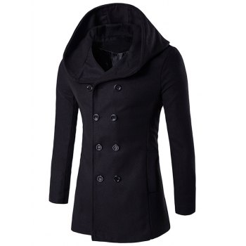 Double Breasted Hooded Back Slit Wool Coat